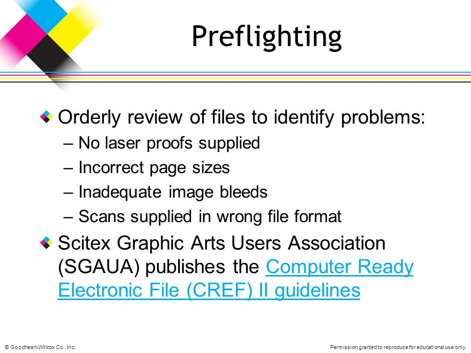 Preflighting Orderly review of files to identify problems: