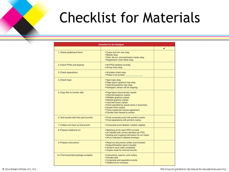 Checklist for Materials