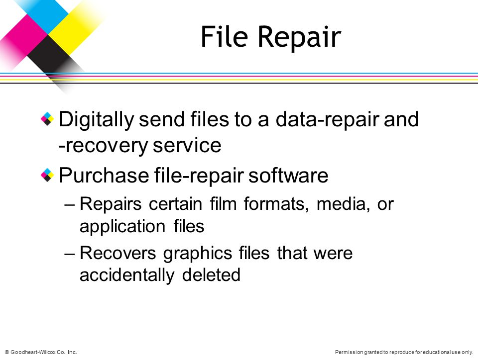 File Repair Digitally send files to a data-repair and -recovery service. Purchase file-repair software.
