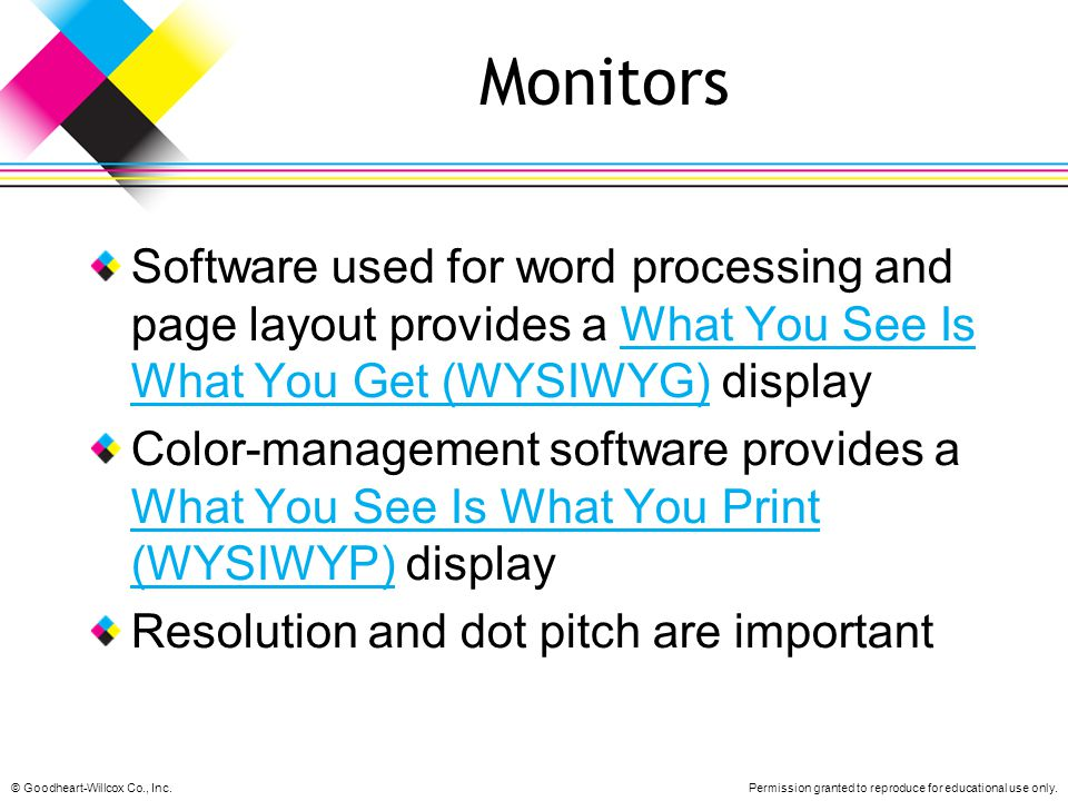 Monitors Software used for word processing and page layout provides a What You See Is What You Get (WYSIWYG) display.