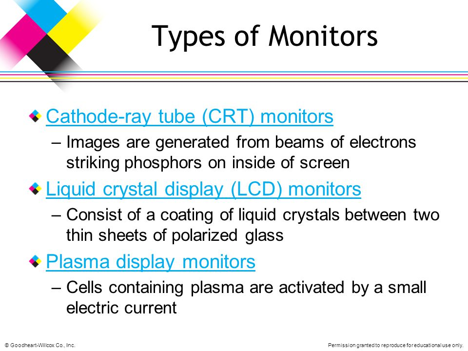Types of Monitors Cathode-ray tube (CRT) monitors