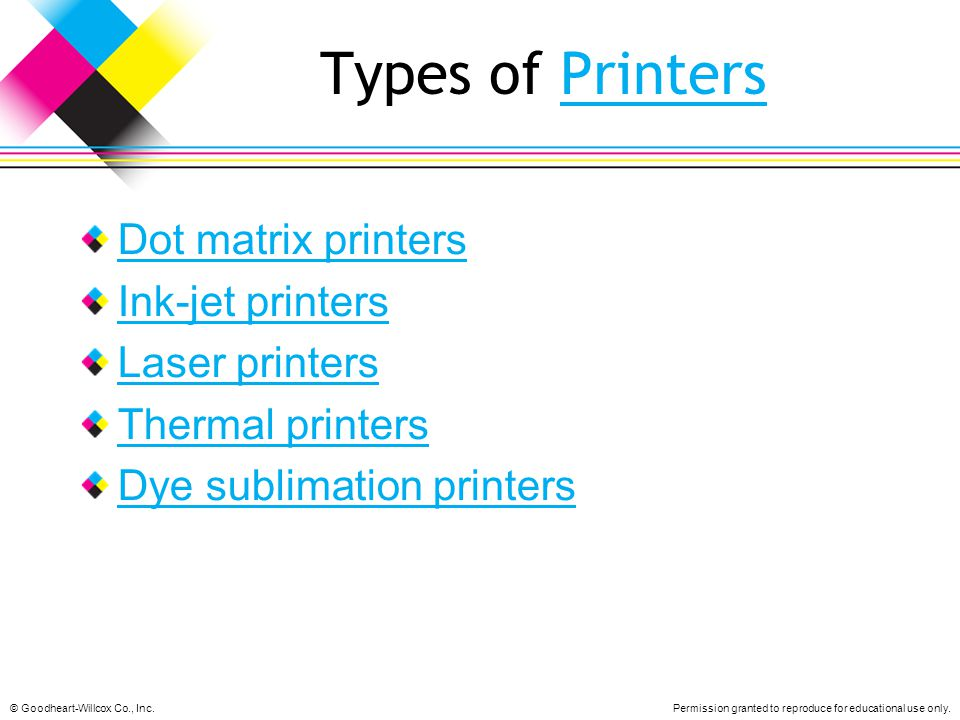 Types of Printers Dot matrix printers Ink-jet printers Laser printers