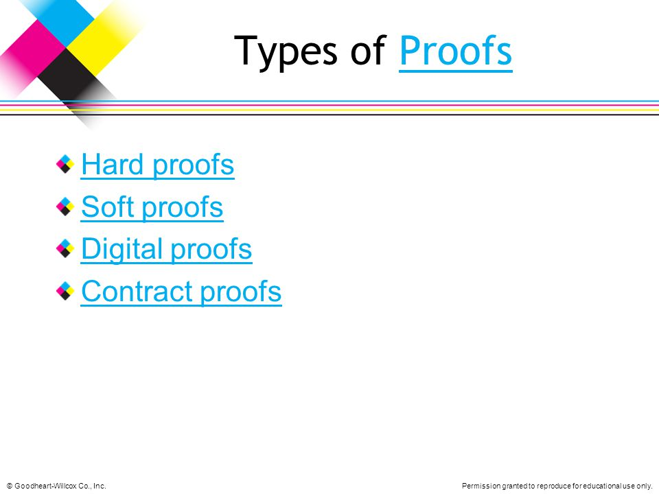 Types of Proofs Hard proofs Soft proofs Digital proofs Contract proofs