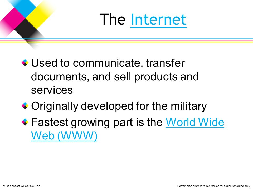 The Internet Used to communicate, transfer documents, and sell products and services. Originally developed for the military.