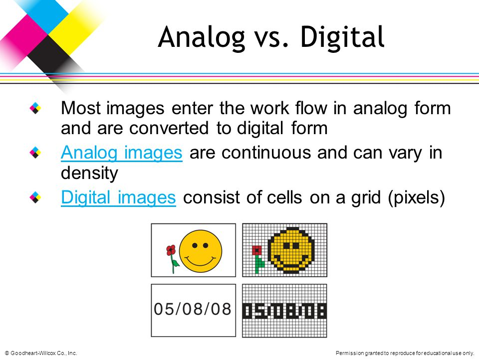 Analog vs. Digital Most images enter the work flow in analog form and are converted to digital form.