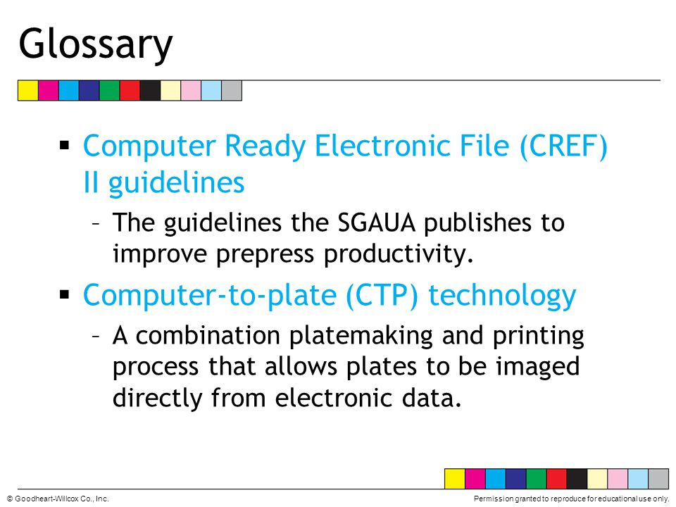Glossary Computer Ready Electronic File (CREF) II guidelines