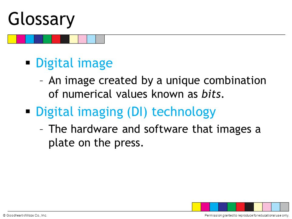 Glossary Digital image Digital imaging (DI) technology