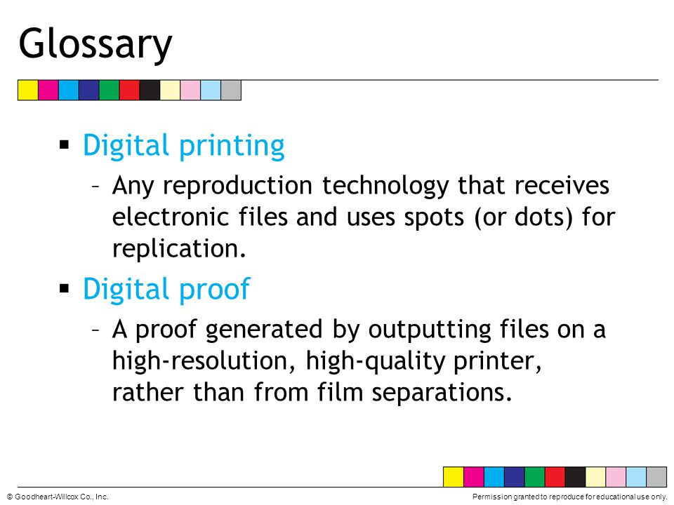 Glossary Digital printing Digital proof