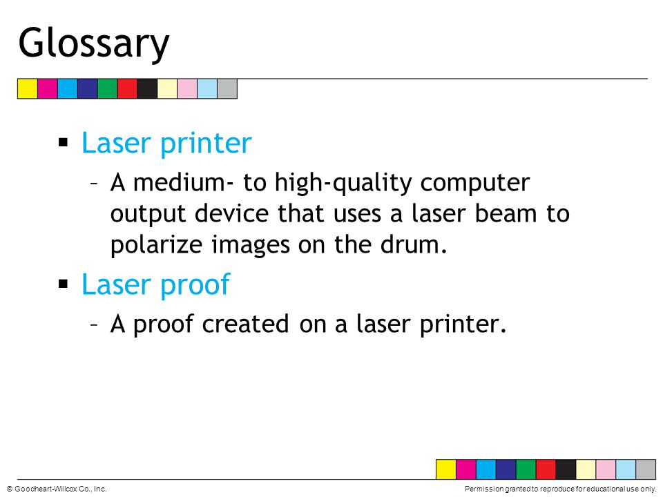 Glossary Laser printer Laser proof
