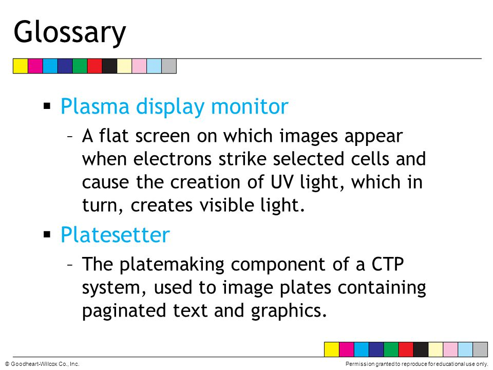 Glossary Plasma display monitor Platesetter