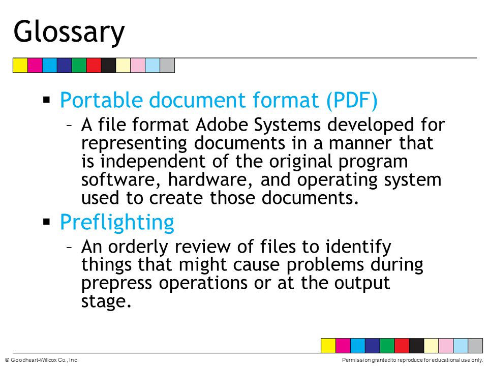 Glossary Portable document format (PDF) Preflighting
