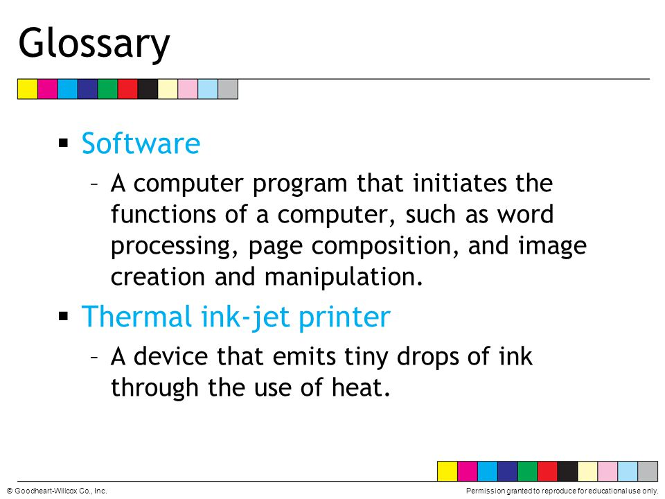 Glossary Software Thermal ink-jet printer