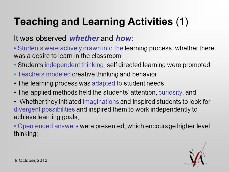 Teaching and Learning Activities (1)