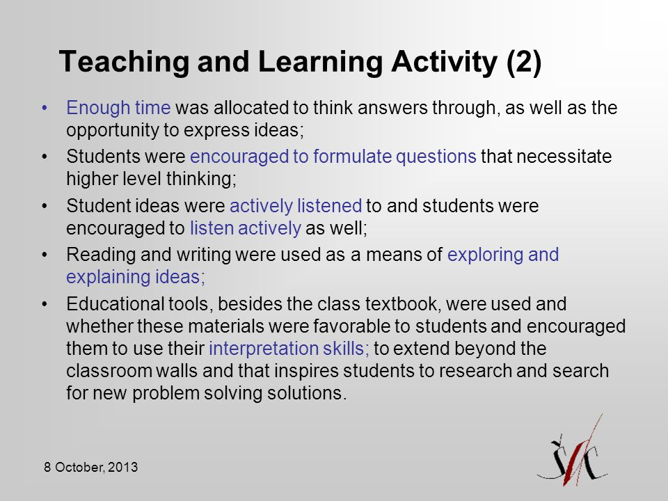 Teaching and Learning Activity (2)