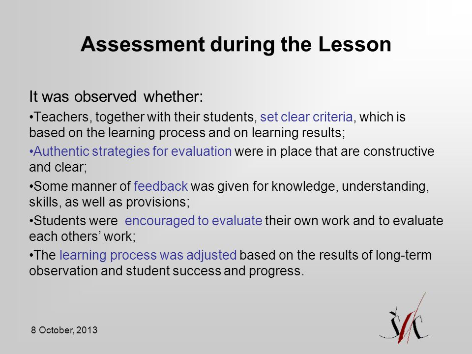 Assessment during the Lesson