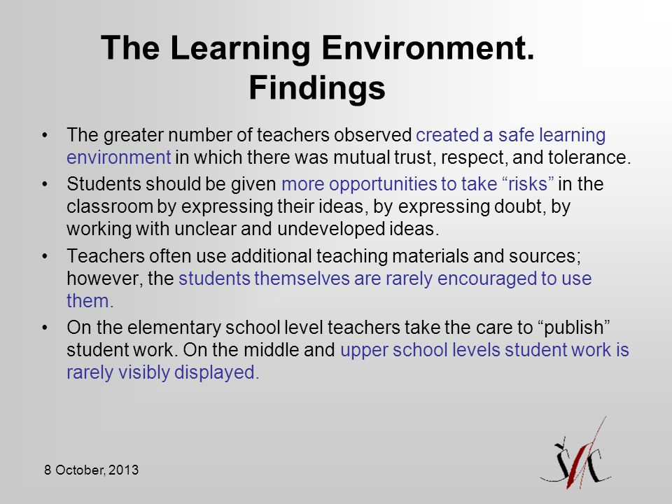 The Learning Environment. Findings