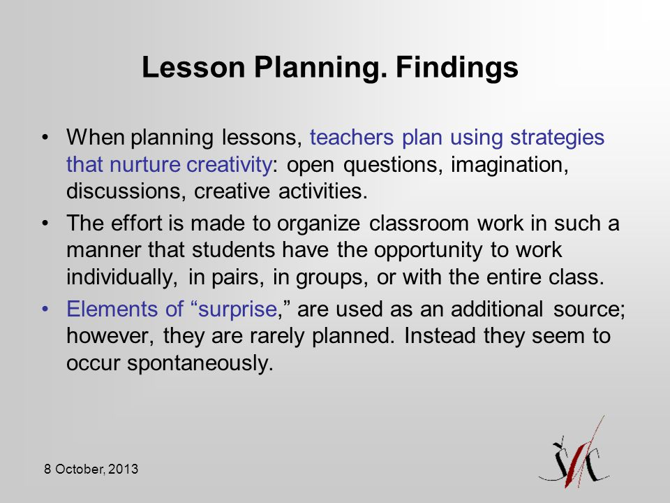 Lesson Planning. Findings