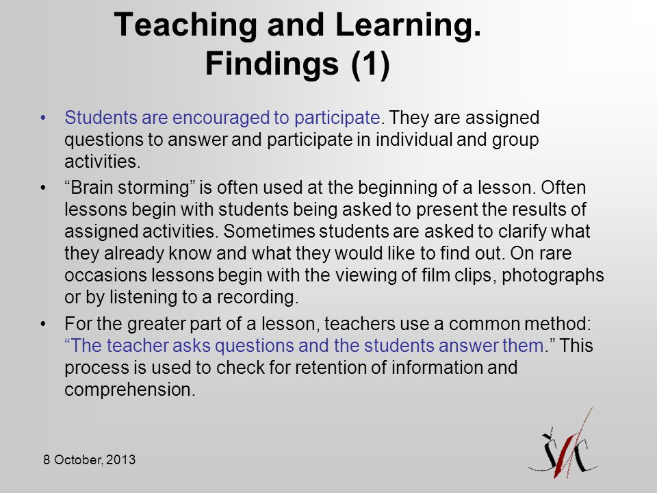 Teaching and Learning. Findings (1)