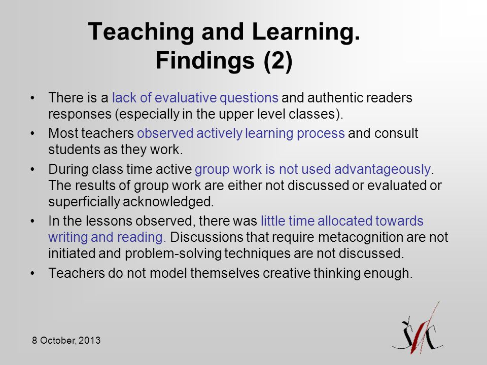 Teaching and Learning. Findings (2)