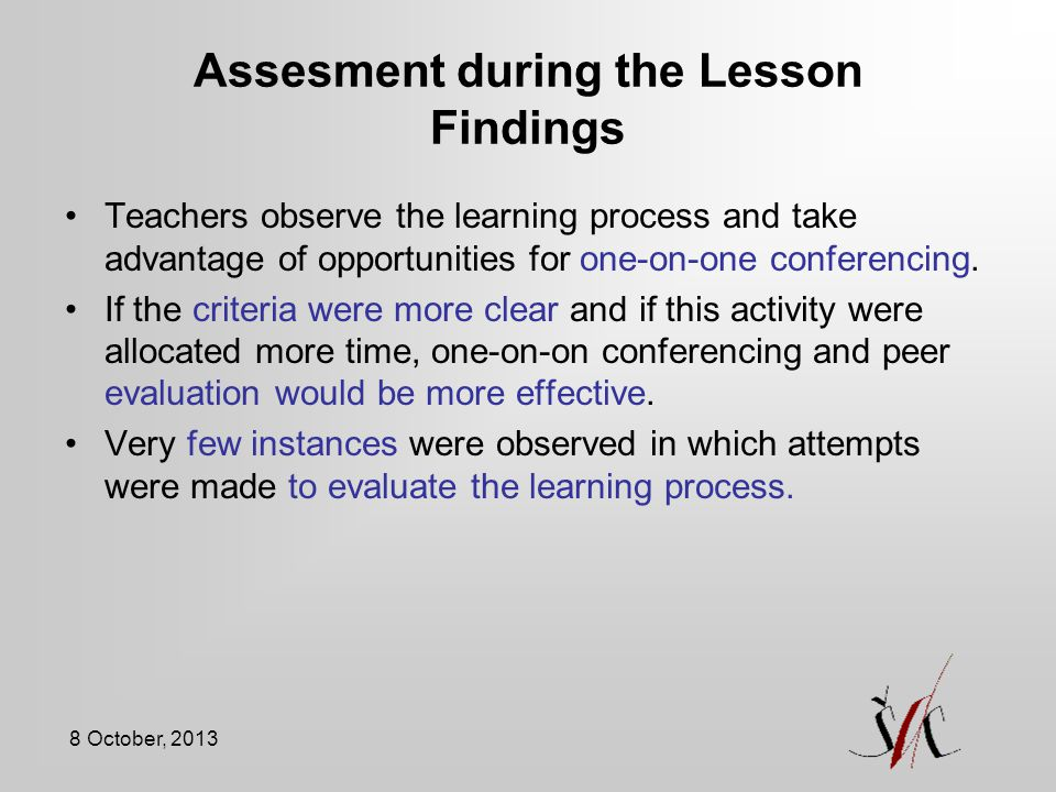 Assesment during the Lesson Findings