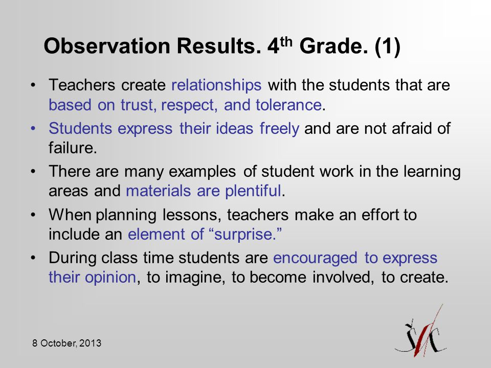 Observation Results. 4th Grade. (1)