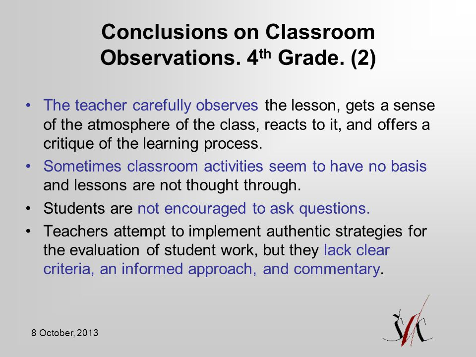 Conclusions on Classroom Observations. 4th Grade. (2)