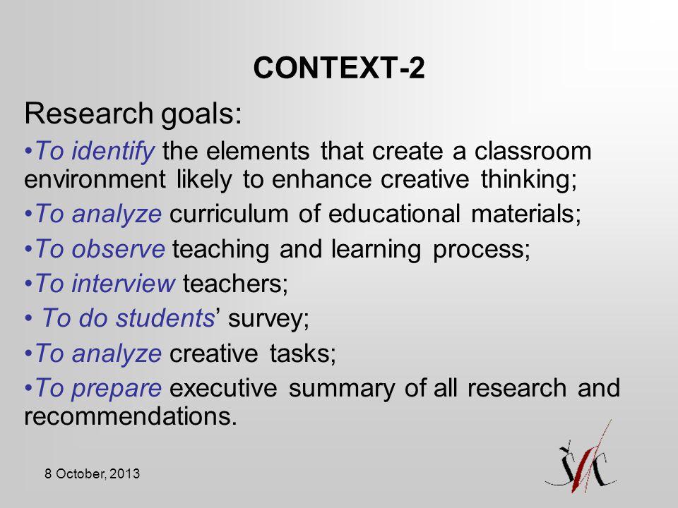 CONTEXT-2 Research goals: