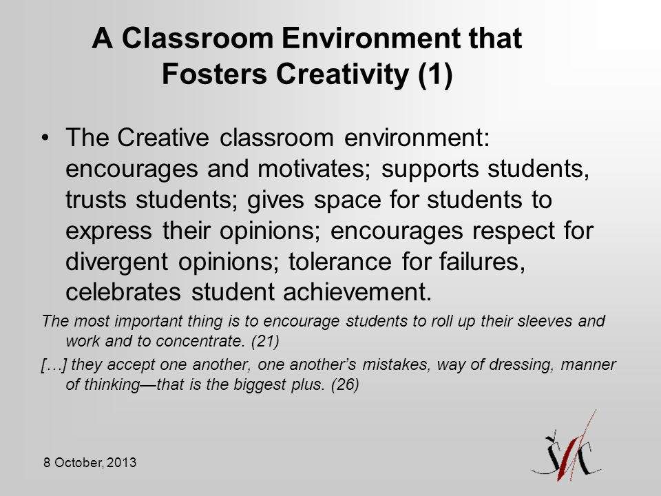 A Classroom Environment that Fosters Creativity (1)