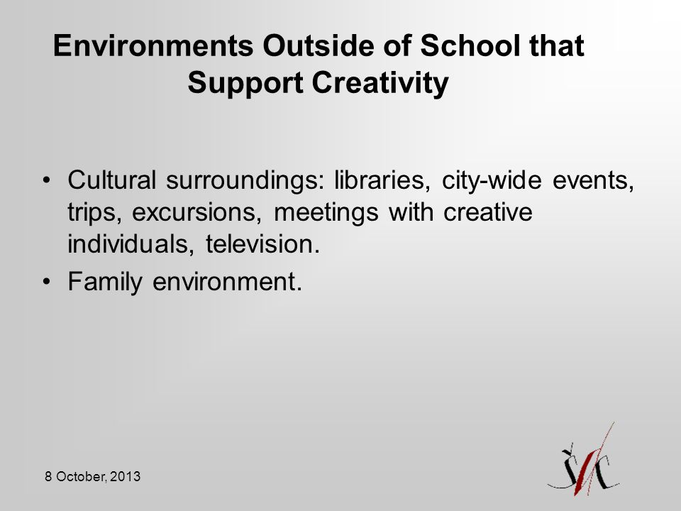 Environments Outside of School that Support Creativity