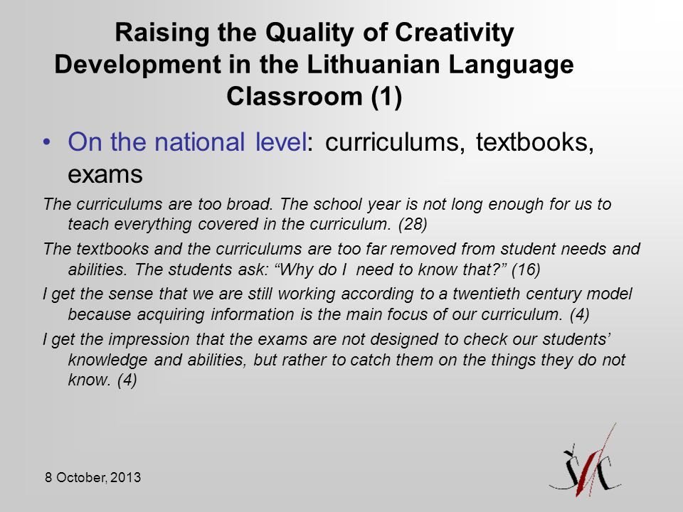 On the national level: curriculums, textbooks, exams