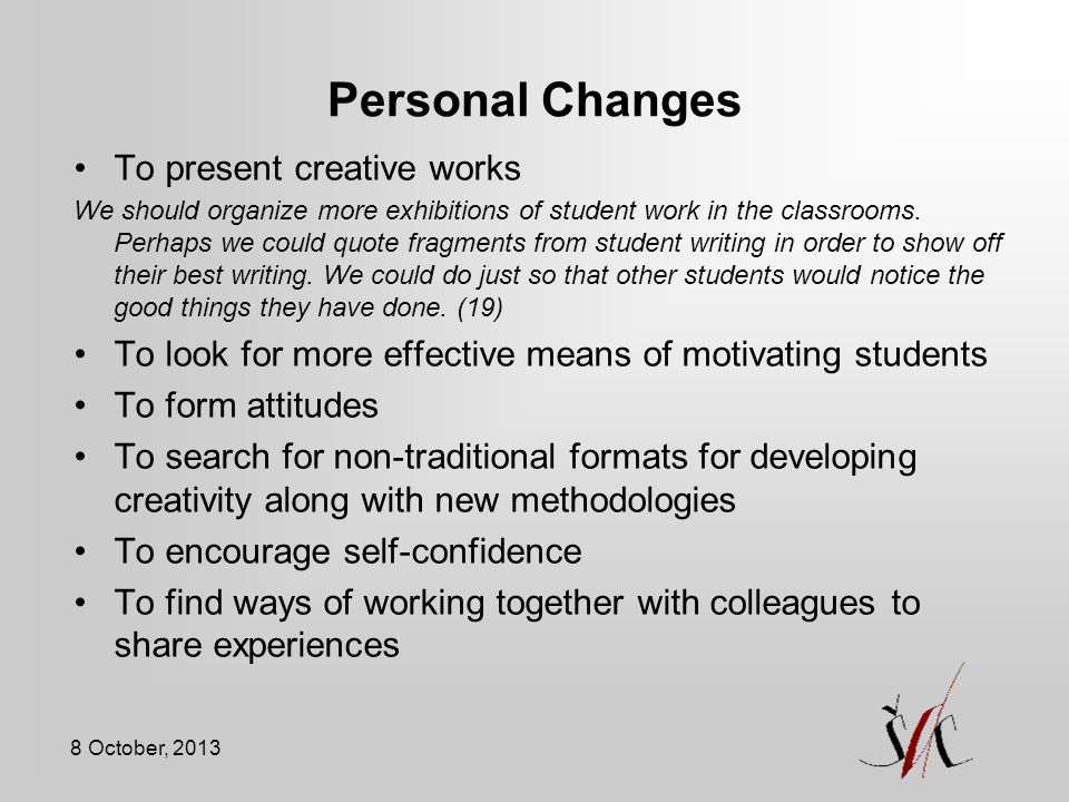 Personal Changes To present creative works