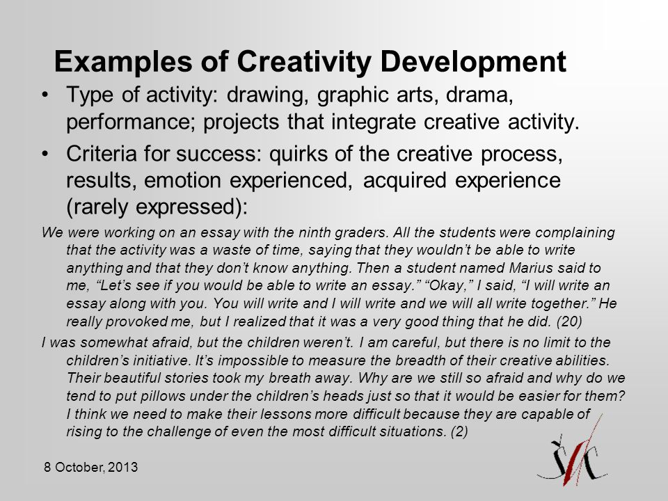 development of creativity at different school age d penkauskiene  42 examples of creativity development