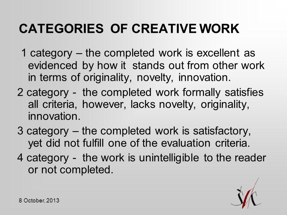 CATEGORIES OF CREATIVE WORK