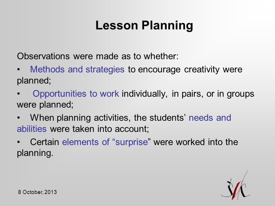Lesson Planning Observations were made as to whether: