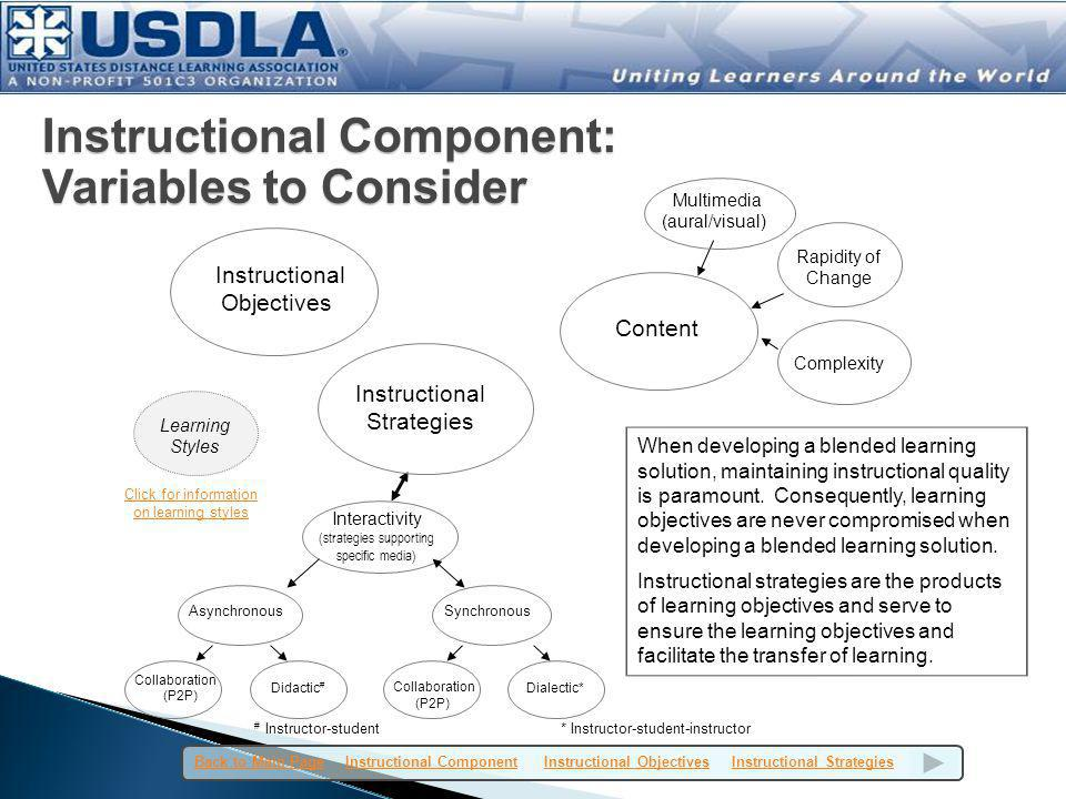 Instructional Component: Variables to Consider