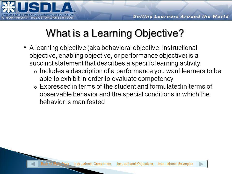 What is a Learning Objective