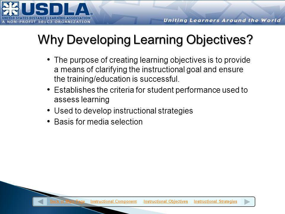 Why Developing Learning Objectives