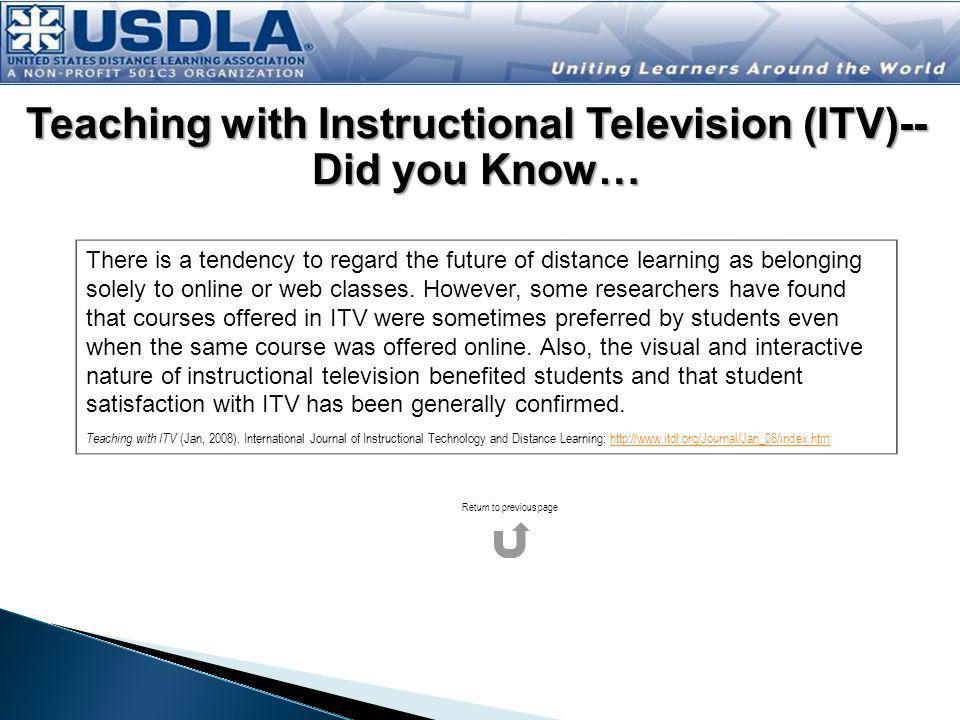 Teaching with Instructional Television (ITV)--Did you Know…