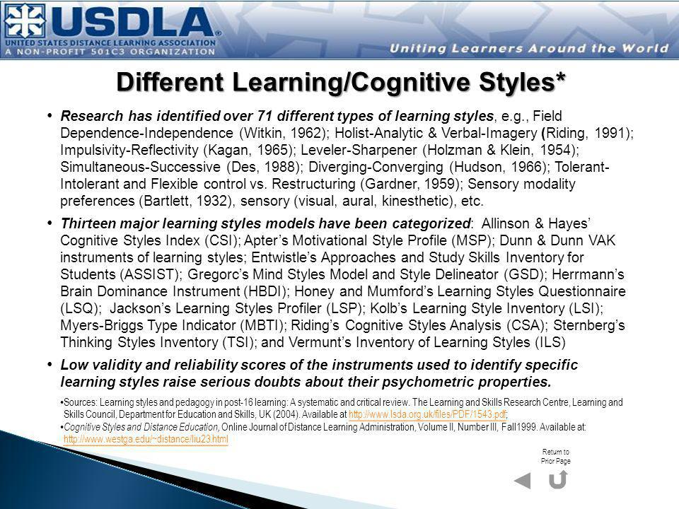 Different Learning/Cognitive Styles*