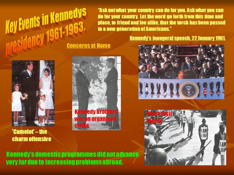 Key Events in Kennedys presidency 1961-1963.