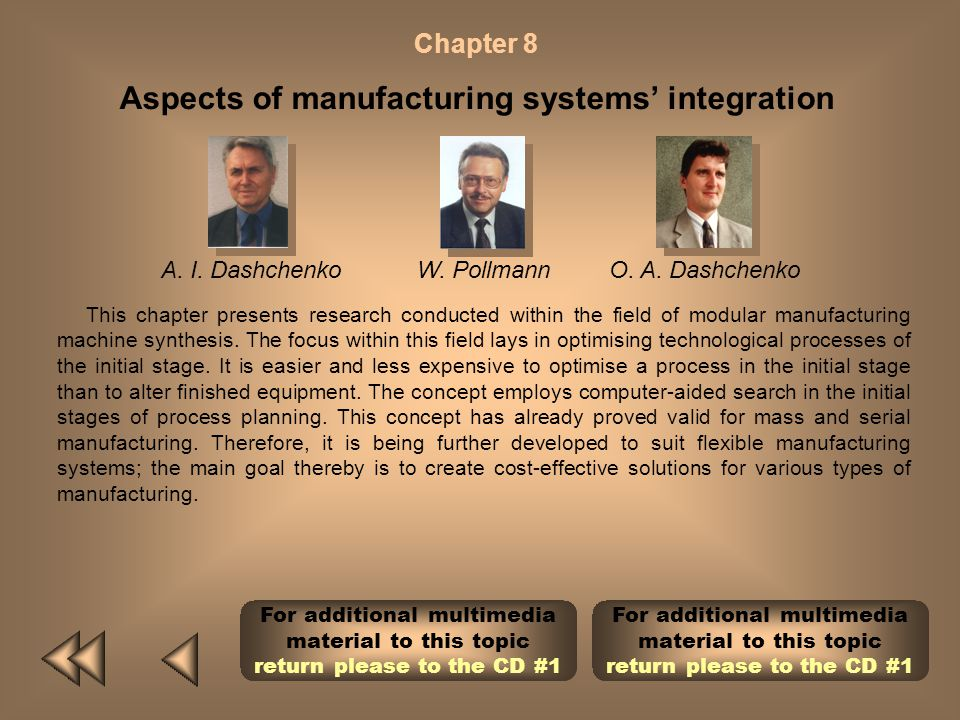 Aspects of manufacturing systems' integration