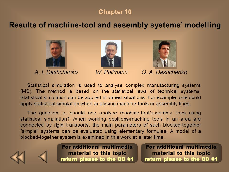Results of machine-tool and assembly systems' modelling