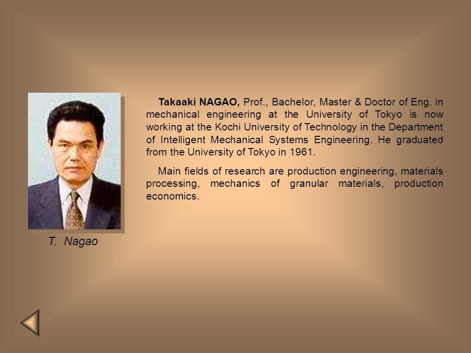 Takaaki NAGAO, Prof. , Bachelor, Master & Doctor of Eng