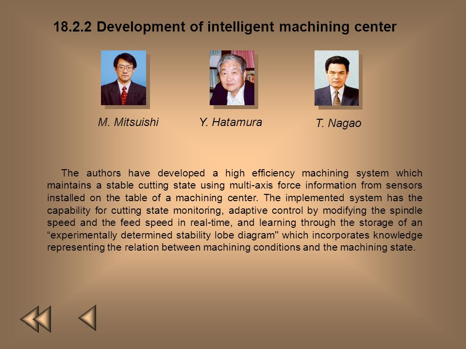 18.2.2 Development of intelligent machining center