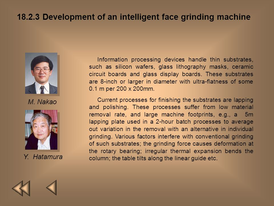 18.2.3 Development of an intelligent face grinding machine