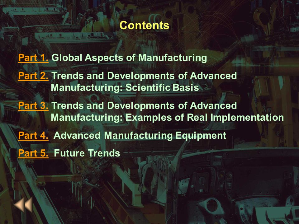 Contents Part 1. Global Aspects of Manufacturing
