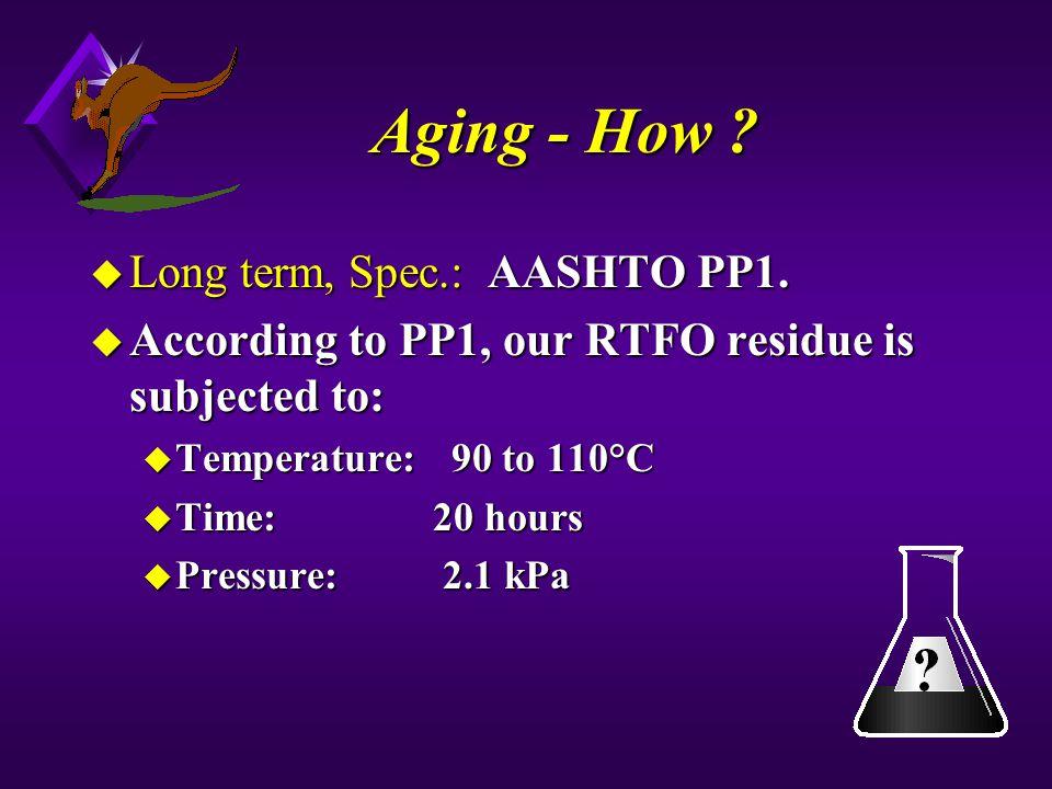 Aging - How Long term, Spec.: AASHTO PP1.
