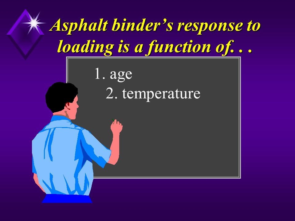 Asphalt binder's response to loading is a function of. . .