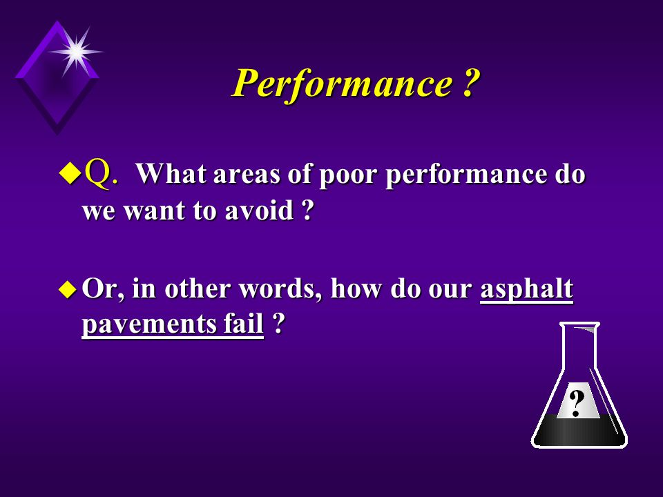 Performance Q. What areas of poor performance do we want to avoid