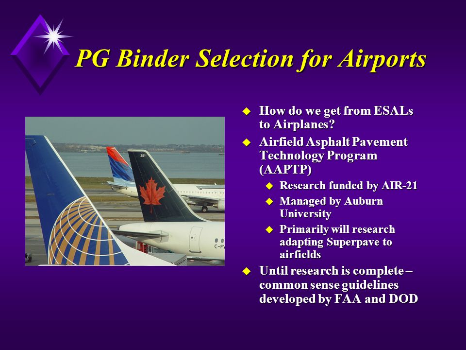 PG Binder Selection for Airports